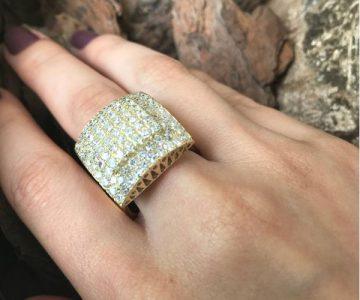 Anel em Ouro 18K Pavê de Diamantes – Desconto de R$7.000 – Fábrica do Ouro