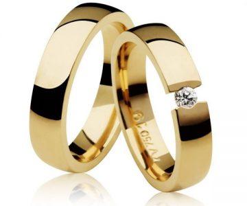 Par de Aliança Casamento e Noivado em Ouro 18K com Diamante de 0,10Cts com Desconto