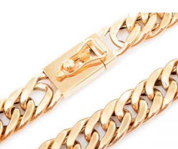 Pulseira de Ouro 18K Groumet Larga de 1 centímetro com 15 cm com Desconto na Fábrica do Ouro