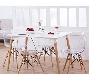 Conjunto Mesa Eames 1,20m e Cadeiras Eiffel DSW Sem Braço Incolor com Desconto na Hometeka